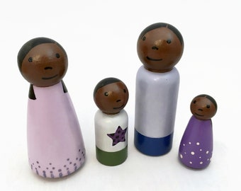 Peg Doll Family of Four with Girl and Boy - Dark Skin Tone - Ready to Ship