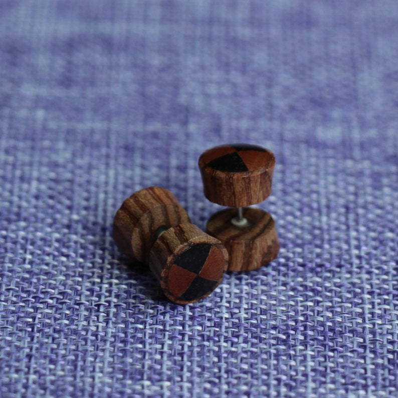 Tribal inlayed Sono Wood and Saba Wood Yellow Jack Fruit Naturally Organic Fake Gauge Earrings Hand Carved