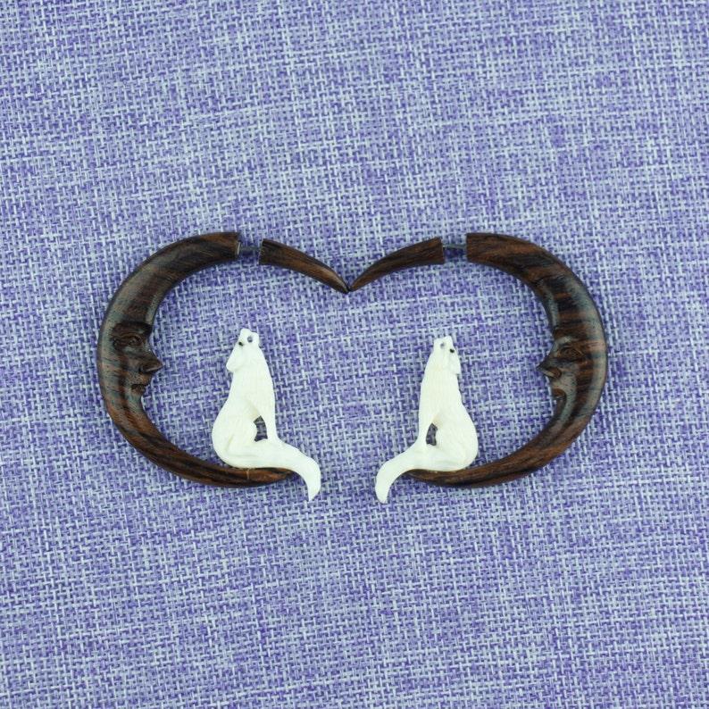 Fake Gauge Earrings Naturally Organic Singing wolf Hand Carved Bone Sono Wood