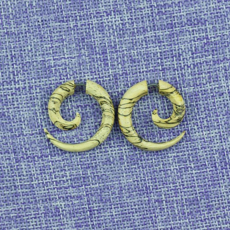 Naturally Organic Tribal Fake Gauge Earrings Tamarind small Spiral Tamarind Wood Hand Carved