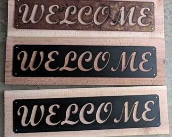 Rustic Cedar Welcome Sign