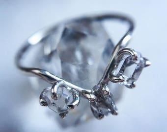 3xHerkimer Diamond, Sterling Silver Ring. 14k Goldfill Ring. Multi-Herkimer Ring. OOAK Herkimer Ring. Gifts for Her.Raw Quartz Ring.