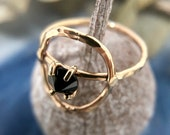 Black Spinel, Circle Ring. Silver Circle Ring. Goldfill Circle Ring. 14K Gold, Circle Ring. Spinel, Gold Ring.Open Fire.Open Fire Jewellery.