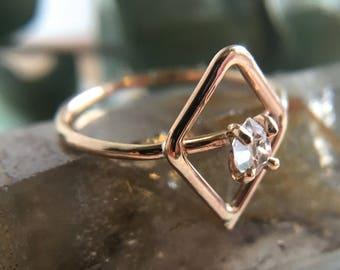 Herkimer Diamond Ring. 14k Goldfill Herkimer Ring. Silver Herkimer Ring. Raw Herkimer Ring. Diamond Ring. OOAK Herkimer. Gifts for Her.