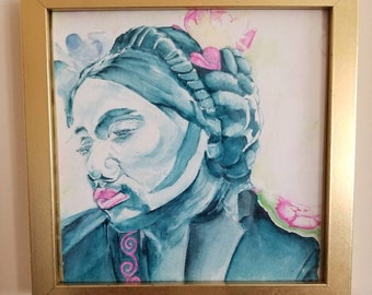 Fannie Lou Townsend Hamer Voting Activist 1965 in Punky Pink by Deja Vudoo Original Watercolor of Mississippi Native Ms
