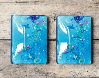 Glass Tile Magnets | Abstract Blue | Rectangle | Stocking Stuffer | Third Anniversary | Refrigerator Magnet | Office Magnets | Locker Swag