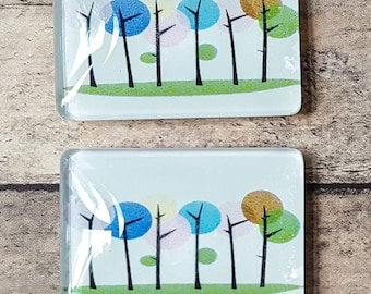 Glass Tile Magnets | Abstract Trees | Rectangle | Stocking Stuffer | Third Anniversary | Refrigerator Magnet | Office Magnets | Locker Swag