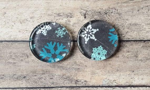 Aimants de tuiles de verre noël bleu blanc flocon de neige