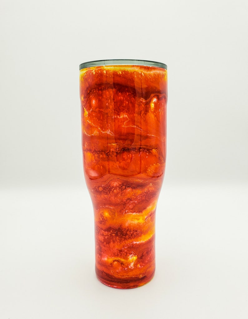 Red Orange Yellow Sparkle Swirl Alcohol Ink 40 oz Stainless Steel Hot Ice Cold Tumbler Drink Cup HOGG