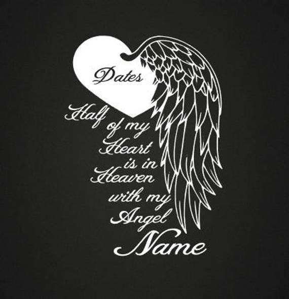 Heart With Wing In Loving Memory Vinyl Decal Loving Memory