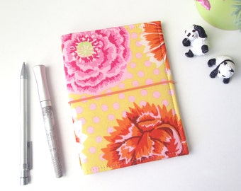 Fauxdori A6,  tissu fleuri (porte-carnets japonais)