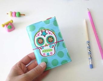 FauxDori, couverture  pour mini-carnet  (motifs sugar skull)
