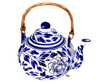 Ready to frame blue and white peony teapot