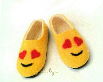 89e719d0de556 Felt slippers Felt Wool slippers 8.5 Christmas Gift for wife Gift for girl  slippers Women slippers Winter Slippers Warm slippers Emoji Love