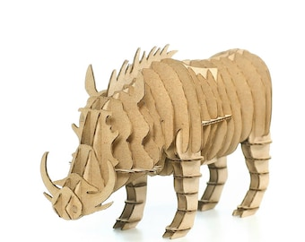 Wild Boar 3D Cardboard Puzzle,3D Puzzle Game,Cardboard Puzzle,Cardboard Toy,Cardboard Game,Eco Accessory,Eco Present