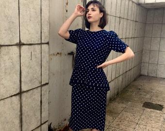 80s Polka Dot Dress /  Polka Dot Tier Dress