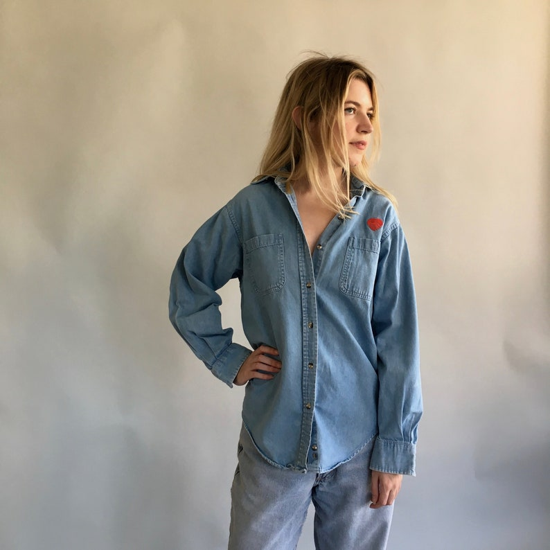 8d4d324b913 Oversized Womens Denim Shirt with Embroidered Heart / Baggy Washed Out  Denim Shirt / Pale Blue Shirt