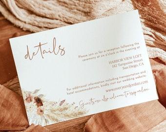 Boho Details Card   Minimalist Wedding Details Insert   Pampas Grass Wedding Details   Rust Wedding Details Card   Editable Template   A4