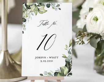 Greenery Table Number Card Template | Editable Wedding Table Numbers | Watercolor Eucalyptus Leaves | Printable Instant Download