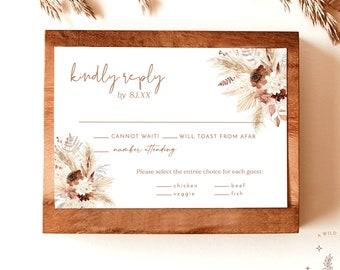 Fall Wedding RSVP Card   Boho RSVP Card   Pampas Grass RSVP Insert   Response Card   Rust Wedding Insert Card   Editable Template   A4