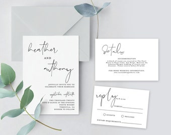Minimal Wedding Invitation Suite Template | Minimalist Wedding Invite | Modern Wedding Invite | Editable Template Instant Download