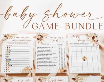 Pumpkin Baby Shower Games   Fall Baby Shower Games   Boho Baby Shower Game Bundle   Pampas Grass Baby Shower Games   Fall Baby Shower   A4
