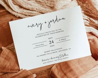 Minimalist Wedding Invitation   Minimalist Boho Wedding Invite   Modern Wedding Invite   Photo Wedding Invitation   Editable Template   M4