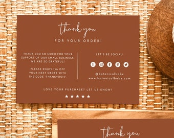 Terracotta Small Business Thank You Card | Boutique Thank You Template | Thank You For Your Order | Modern Thank You Package Insert
