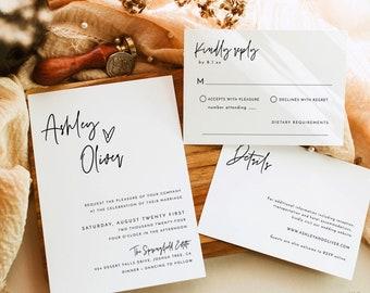 Minimalist Wedding Invitation Suite | Minimalist Wedding Invite | Modern Wedding Invite | Photo Wedding Invitation | Editable Template | M8