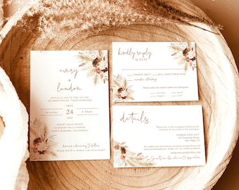 Fall Wedding Invitation Suite   Boho Wedding   Terracotta Wedding Invite   Pampas Grass   Desert Wedding Invite   Rust Wedding Invite A4