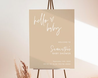 Boho Baby Shower Welcome Sign | Neutral Shower Welcome Sign | Pampas Grass Baby Shower | Minimalist Baby Shower Welcome Poster | BM1