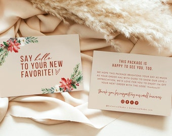 Boho Small Business Thank You Card | Winter Thank You Card Template | Holiday Thank You For Your Order | Modern Thank You Package Insert