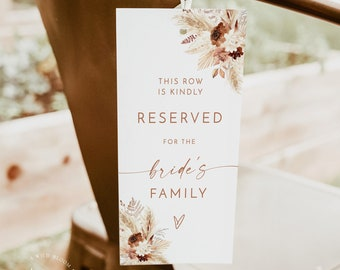 Boho Reserved Chair Tags   Family Reserved Tag   Fall Wedding Reserved Tag   Minimalist Wedding Reserved Seat Sign   Chair Tag Template   A4