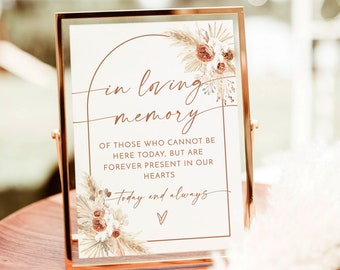 In Loving Memory Sign   Forever in Our Hearts Wedding Sign   Forever In Our Hearts Sign   Wedding Memorial Candle Sign   Editable Sign   A2