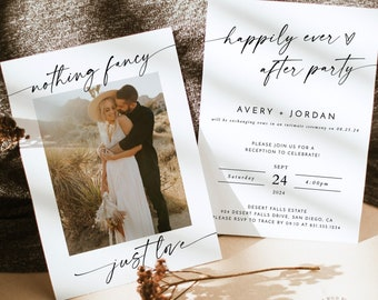 Photo Wedding Announcement   Photo Elopement Announcement   Nothing Fancy Just Love   Happily Ever After Party Invite   Reception Invite M9