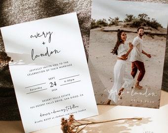Minimalist Wedding Invitation Template | Editable Minimalist Wedding Invite | Modern Wedding Invite | Photo Wedding Invitation | M4