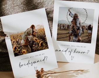 Will You Be My Bridesmaid   Bridesmaid Photo Card   Photo Bridesmaid Proposal   Modern Minimalist Wedding   Boho Bridesmaid Proposal