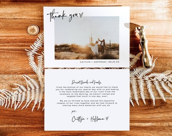 Photo Thank You Card Editable Template   Minimalist Wedding Thank You Card   Minimal Wedding Thank You   Boho Chic Thank You Card   M1