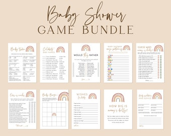 Editable Printable Neutral Rainbow Games Bingo Celebrity Baby Names Price is Right Predictions Advice RB10 Rainbow Baby Shower Game Bundle