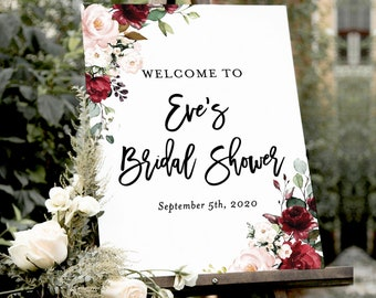 8af24ff73 Watercolor Floral Editable Poster | Burgundy Blush Flowers | Customizable  Welcome Poster Template | Boho Wedding Shower Printable Sign