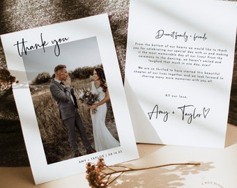 Photo Thank You Card Editable Template   Minimalist Wedding Thank You Card   Modern Wedding Thank You   Boho Wedding Thank You Card   M2