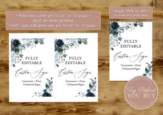 Holiday Navy + White Roses Editable Sign   Printable, Customizable,  Self-Editing Template   Instant Download   Editable Shower Wedding Sign
