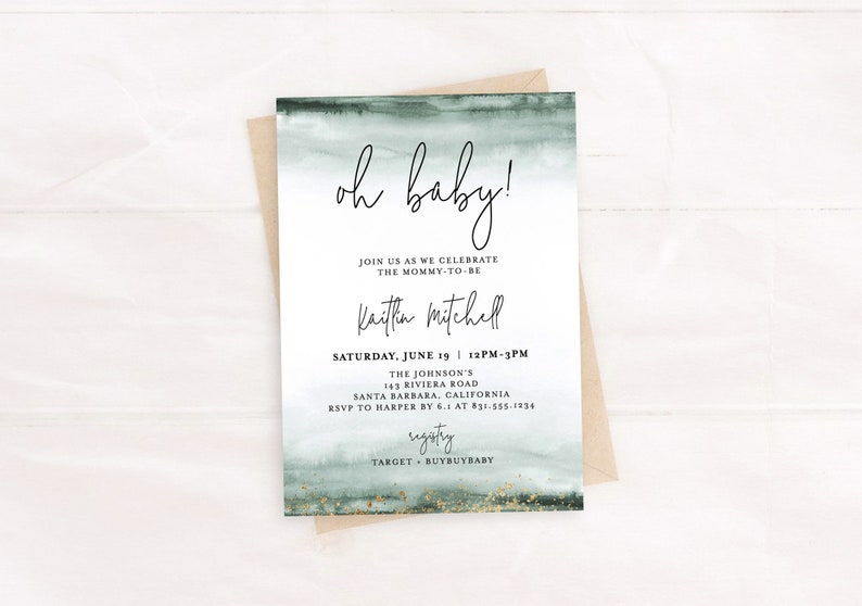 Green Gold Baby Shower Invitation Template