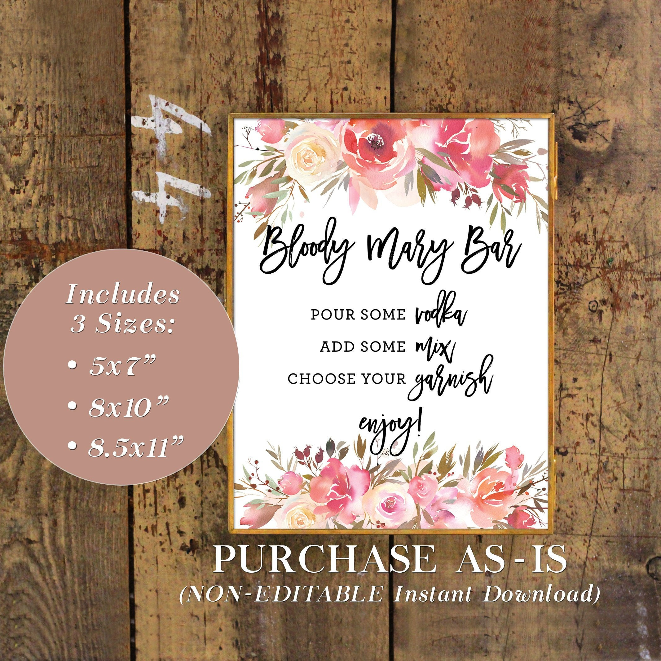 2e82c772908 Printable Floral Bloody Mary Bar Sign Floral Watercolor
