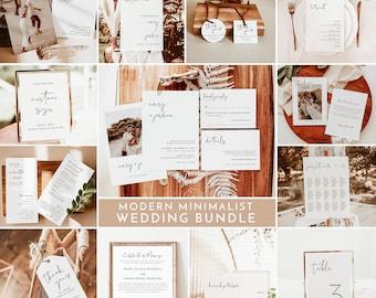 Minimalist Wedding Bundle Template   Editable Minimalist Wedding Templates   Modern Minimalist Wedding Invite   Simple Wedding Invite   M4