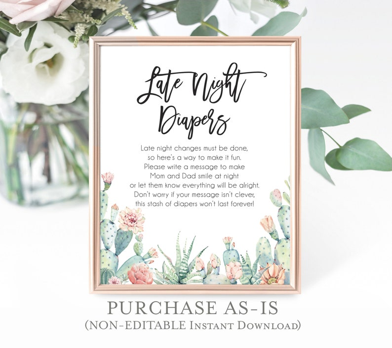 image relating to Late Night Diaper Messages Free Printable titled Printable Late Night time Diapers Match Fiesta Little one Shower Signal Late Evening Diapers Sport Signal Watercolor Cactus Instantaneous Down load