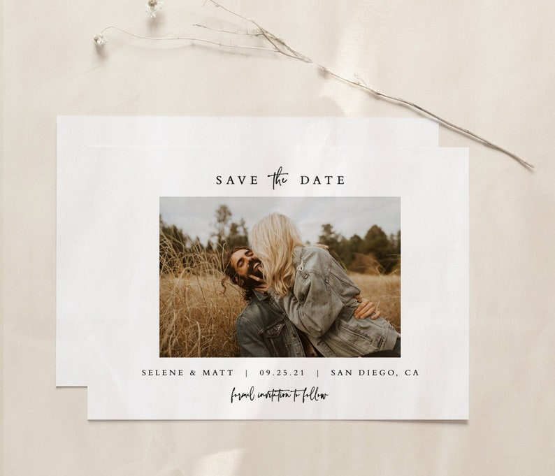 Minimalist Save the Date Template Boho Chic Save the Date Editable Photo Save the Date Template Minimal Save the Date