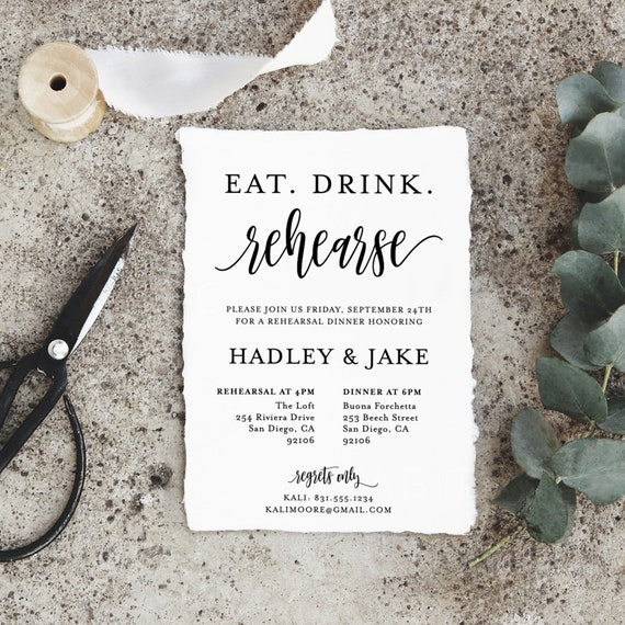 Eat Drink Rehearse Rehearsal Dinner Invitation Template | Etsy
