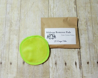 Lime Green Cotton Velour Makeup Remover Pads- Set of 5 - Face Cloth - Face Scrubbie