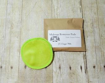 Lime Green Cotton Velour Makeup Remover Pads - Single - Face Cloth - Face Scrubbie